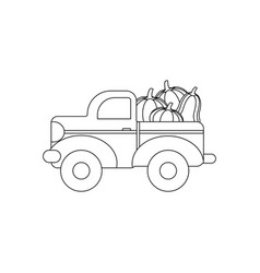 truck with pumpkins coloring page vector image