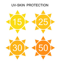 uv-protection sun sign icon collection set vector image
