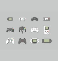 video games joystick icons set vector image