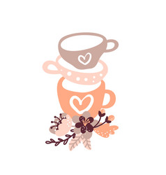 Vintage floral tea cup for vector