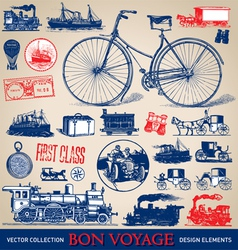 Vintage travel set vector image