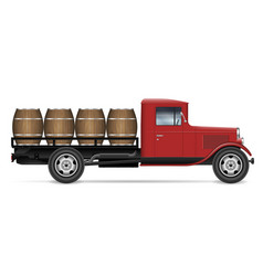 vintage truck with wood barrels side view vector image