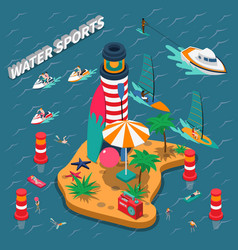 water sports isometric people composition vector image