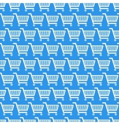 white shopping carts on blue seamless pattern vector image