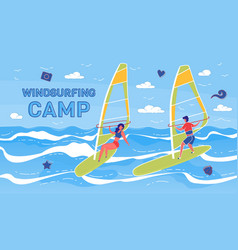 windsurfing summer camp banner template vector image