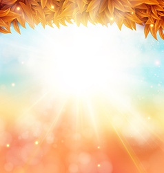 Abstract autumn poster with shining sun and vector image vector image