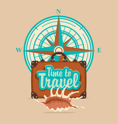 banner with travel suitcase and compass windrose vector image vector image