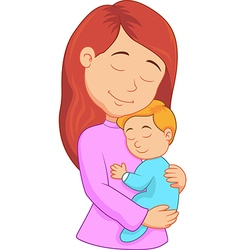 Cartoon mother holding her son vector image