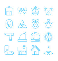 christmas party and happy new year thin line icon vector image vector image