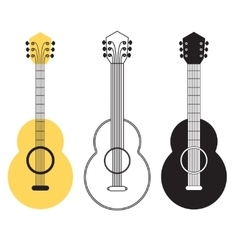 Classical acoustic guitar set vector image