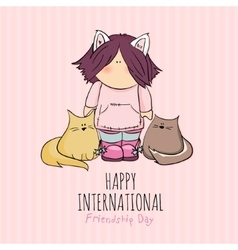 cute girl with cats doodle vector image vector image