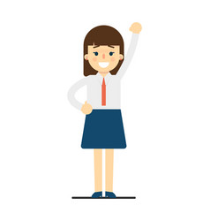 Happy young woman with hand up gesture vector