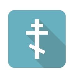 Square orthodox cross icon vector image