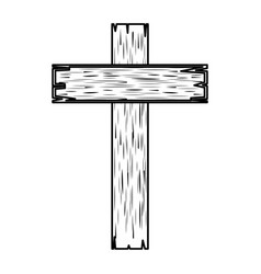 wooden cross religious icon vector image