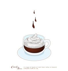 A Cup of Espresso con panna with Whipped Cream vector image