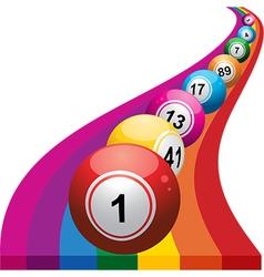 Bingo balls on raimbow background vector image vector image