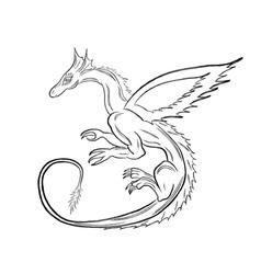 Black dragon over white vector image