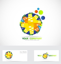 Colored globe logo abstract vector image