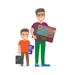 father with son buying electronics flat vector image