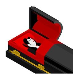 Dracula in coffin vampire count in an open coffin vector