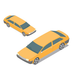 flat 3d isometric yellow passenger car isolated vector image