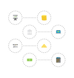 Flat icons bank teller machine money and other vector