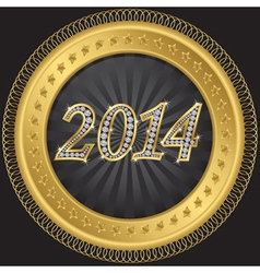 Happy new 2014 year golden label with diamonds vector image vector image