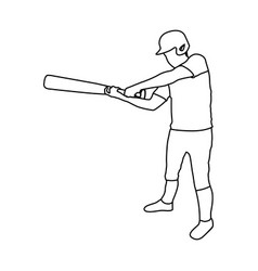 Monochrome contour of baseball player with vector