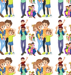 Seamless family with parents and children vector image