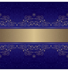 Template gold floral seamless pattern on violet vector image