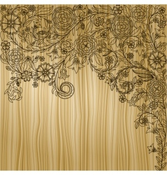 Vintage background with doodle flowers on wooden vector image
