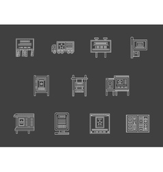 White flat line advertising spaces icons vector image vector image