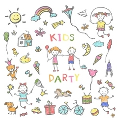 Kids party doodles for the design of childrens vector image vector image