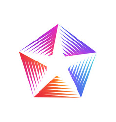 stylized linear colorful shape star logo design vector image
