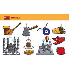 turkey travel destination promotional poster with vector image vector image