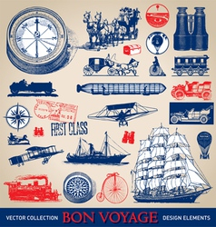 Vintage travel set vector image vector image
