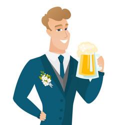 young caucasian groom drinking beer vector image vector image