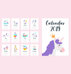 2019 year monthly calendar vector