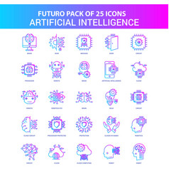 25 blue and pink futuro artificial intelligence vector image