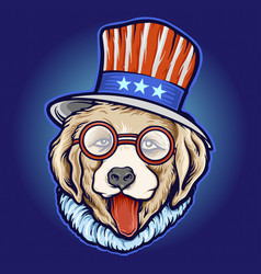 American cool dog day sunglasses vector