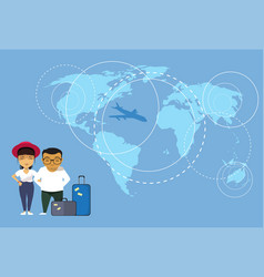 Asian couple of travelers or tourists standing vector