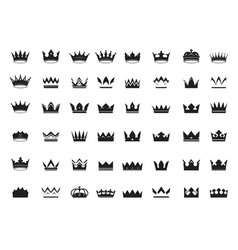 Big set king crowns icon on white background vector