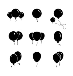 Black party balloon icon on white background vector image