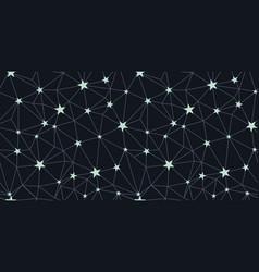 black silver stars network seamless pattern vector image