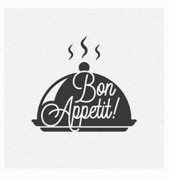 bon appetit vintage lettering on tray background vector image