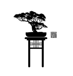 Bonsai tree japanese and chinese trees vector