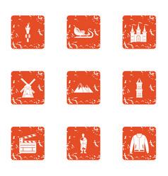 borough icons set grunge style vector image