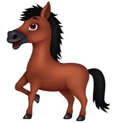 Brown horse cartoon vector