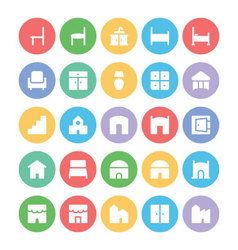 Building and Furniture Icons 11 vector image