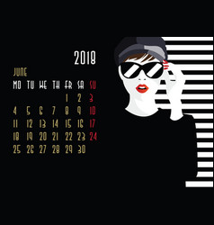 Calendar with fashion girl vector